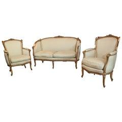 Louis XV Style Giltwood Settee Set antique circa 1840