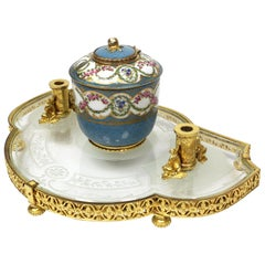 Louis XV Style Glass, Ormolu and Sèvres Porcelain Encrier Inkwell by E. Dreyfous