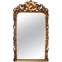 Louis XV Style Gold Leaf Carved Embellished Floor Mirror