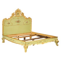 Louis XV Style Green and Parcel Gilt Bedstead