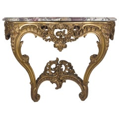 Louis XV Style Hand-Carved Gilt Wood and Marble-Top Console