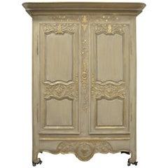 Louis XV-Stil, sehr dekorativ bemalter Schrank mit vergoldeten Details, 5 Regale