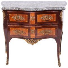 Louis XV Style Inlaid Commode Bombe with Marble Top