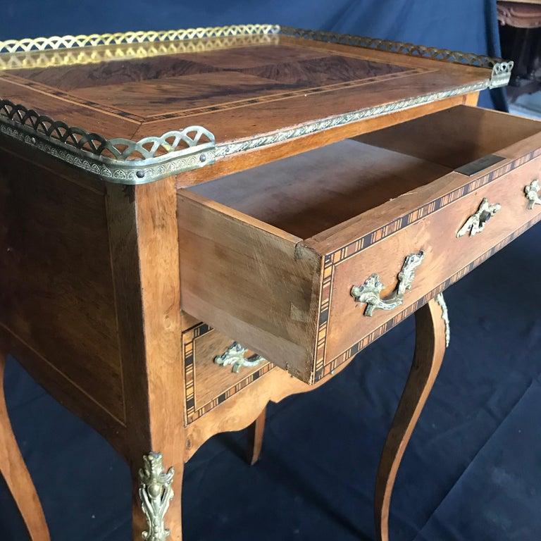 Brass Louis XV Style Inlaid Nightstand or Side Table with Gold Fretwork For Sale