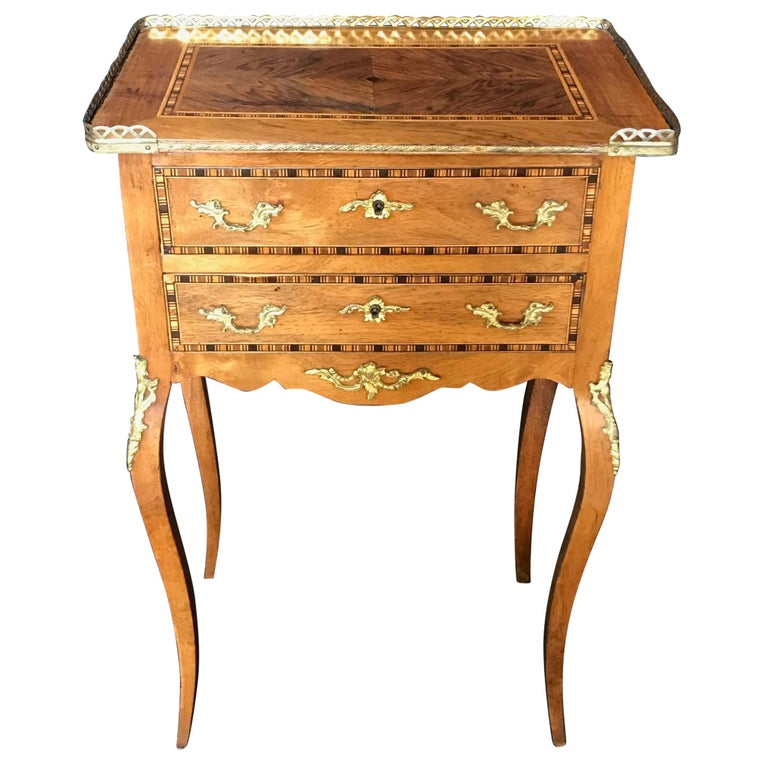 Louis XV Style Inlaid Nightstand or Side Table with Gold Fretwork For Sale