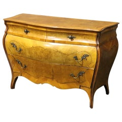 Louis XV Style Italian Burled Olivewood Provincial Commode Dresser, circa 1940
