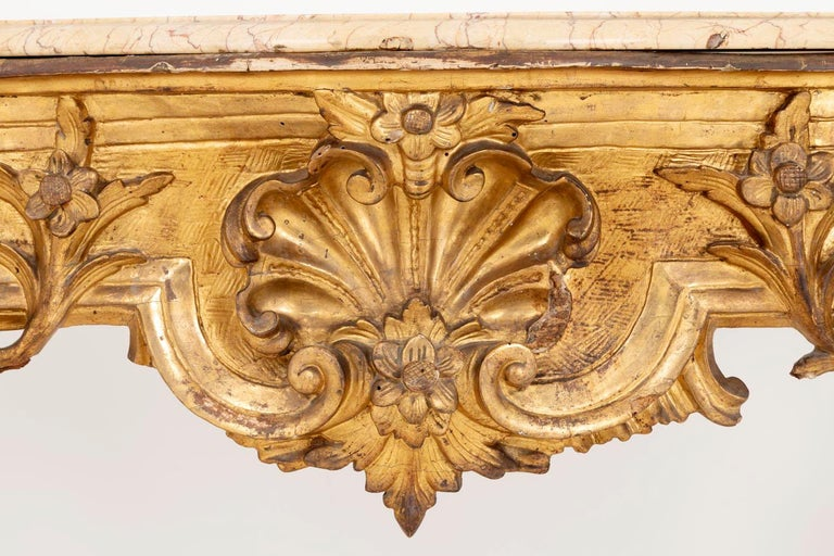 Louis XV Style Italian Console, Giltwood and Yellow Marble, 18th Century For Sale 6