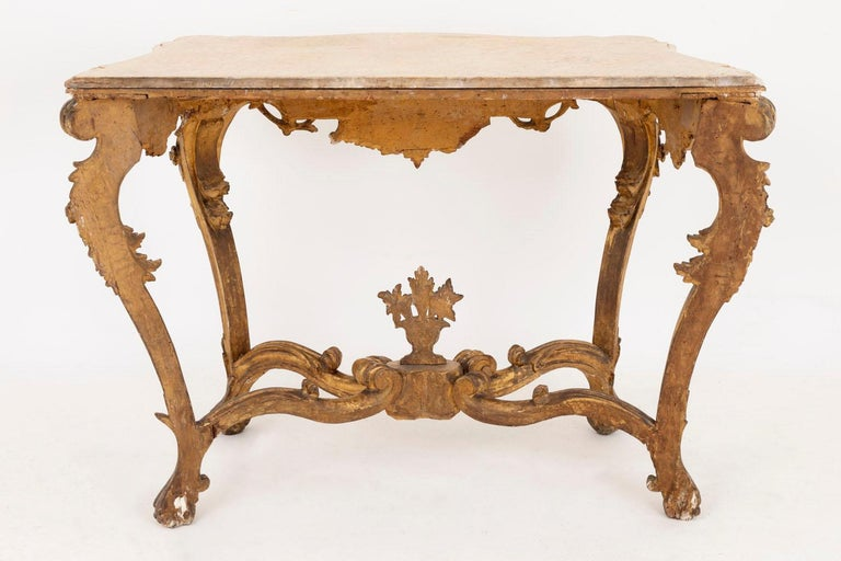 Louis XV Style Italian Console, Giltwood and Yellow Marble, 18th Century For Sale 11