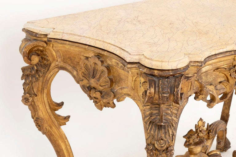 18th Century and Earlier Louis XV Style Italian Console, Giltwood and Yellow Marble, 18th Century For Sale