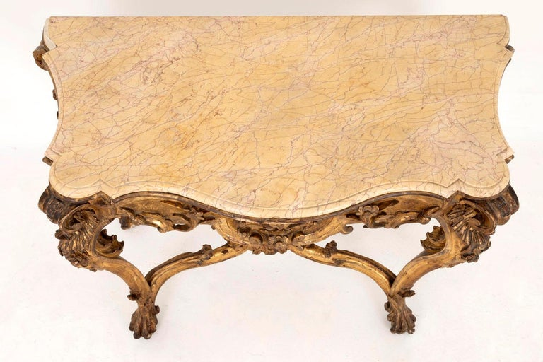 Louis XV Style Italian Console, Giltwood and Yellow Marble, 18th Century For Sale 3