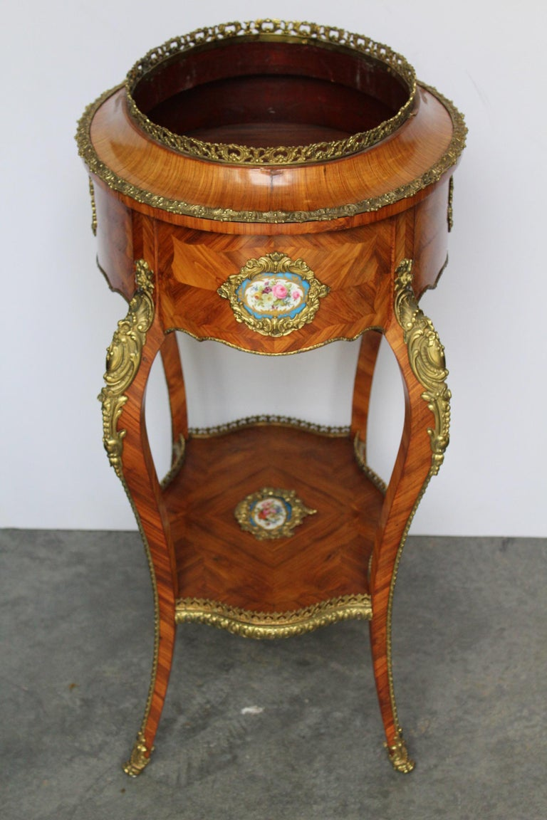 Louis XV Style Jardinière with Sevres Porcelain For Sale 11