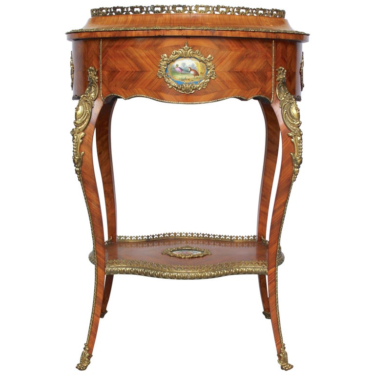 Louis XV Style Jardinière with Sevres Porcelain For Sale