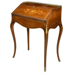 Louis XV Style Ladies Writing Desk in Rosewood with Marquetry, France