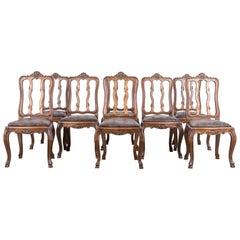 Louis XV Style Leather Upholstered Dining Chairs, Set of Eight