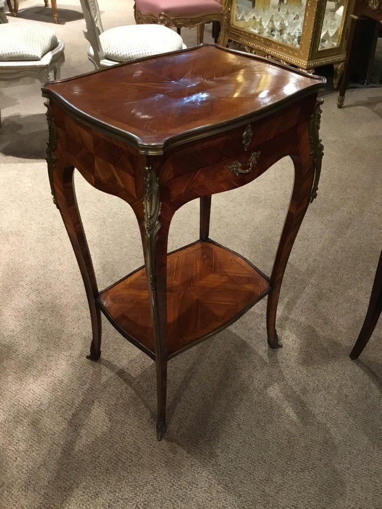 French Louis XV Style Lift Top Vanity Table in Mahogany with Bronze Mounts For Sale