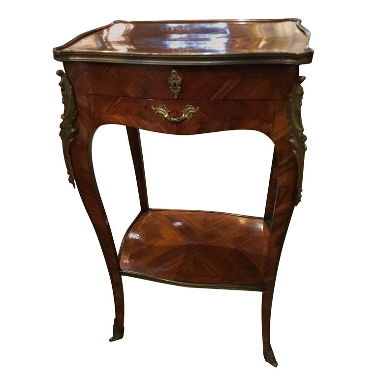 Louis XV Style Lift Top Vanity Table in Mahogany with Bronze Mounts For Sale