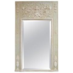 Louis XV Style Light Green Painted Trumeau Mirror with White Carved Accents