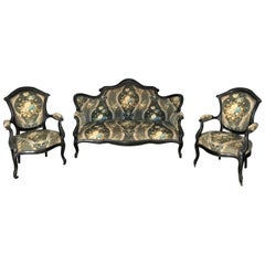 Louis XV Style Living Room Suite with Sofa and Pair of Armchair, 19th Century