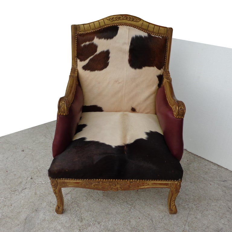 North American Louis XV Style Lounge Chair in Cowhide For Sale