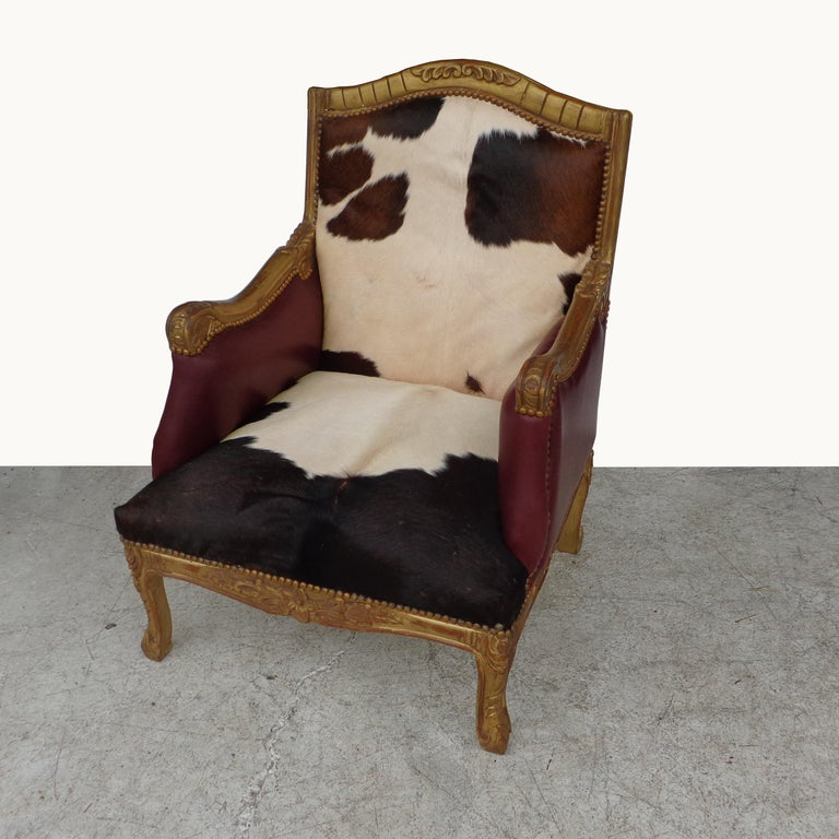 Contemporary Louis XV Style Lounge Chair in Cowhide For Sale
