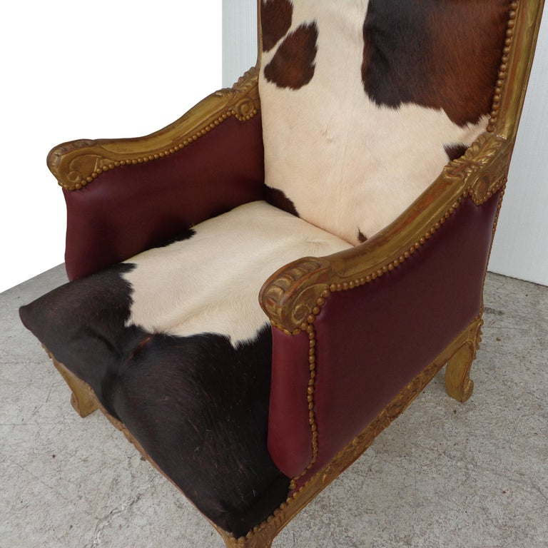 Louis XV Style Lounge Chair in Cowhide For Sale 2