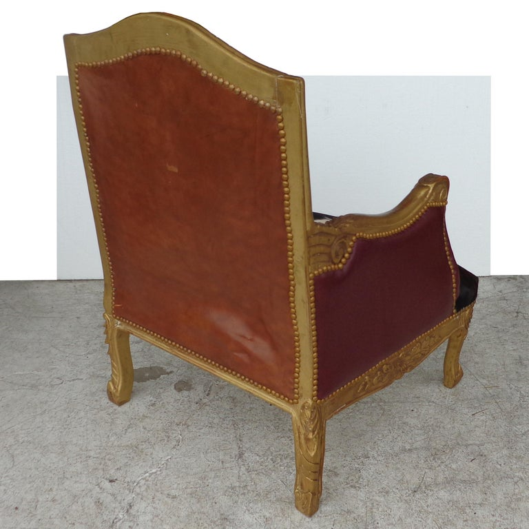 Louis XV Style Lounge Chair in Cowhide For Sale 3