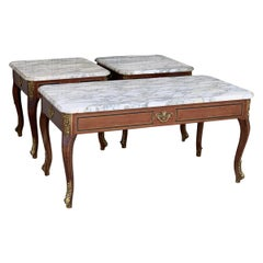 Louis XV Style Mahogany and Marble-Top Set of Three Coffee Table with Bronze
