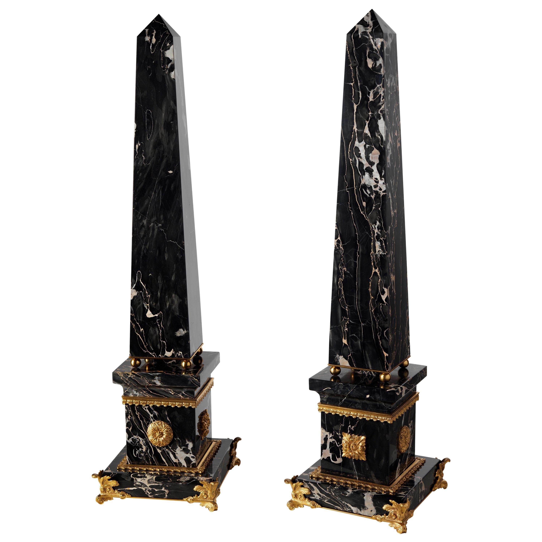 Louis XV Style Marble and Gilt Bronze Obelisk by Gherardo Degli Albizzi