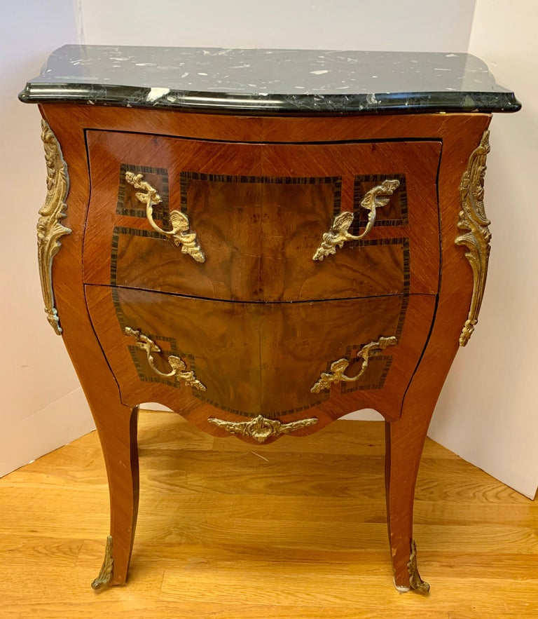 Louis XV Style Marble-Top and Bronze Ormolu Chests, Nightstands For Sale 6