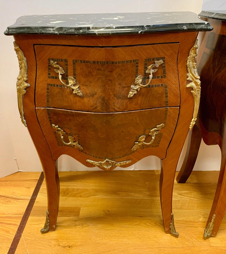 20th Century Louis XV Style Marble-Top and Bronze Ormolu Chests, Nightstands For Sale