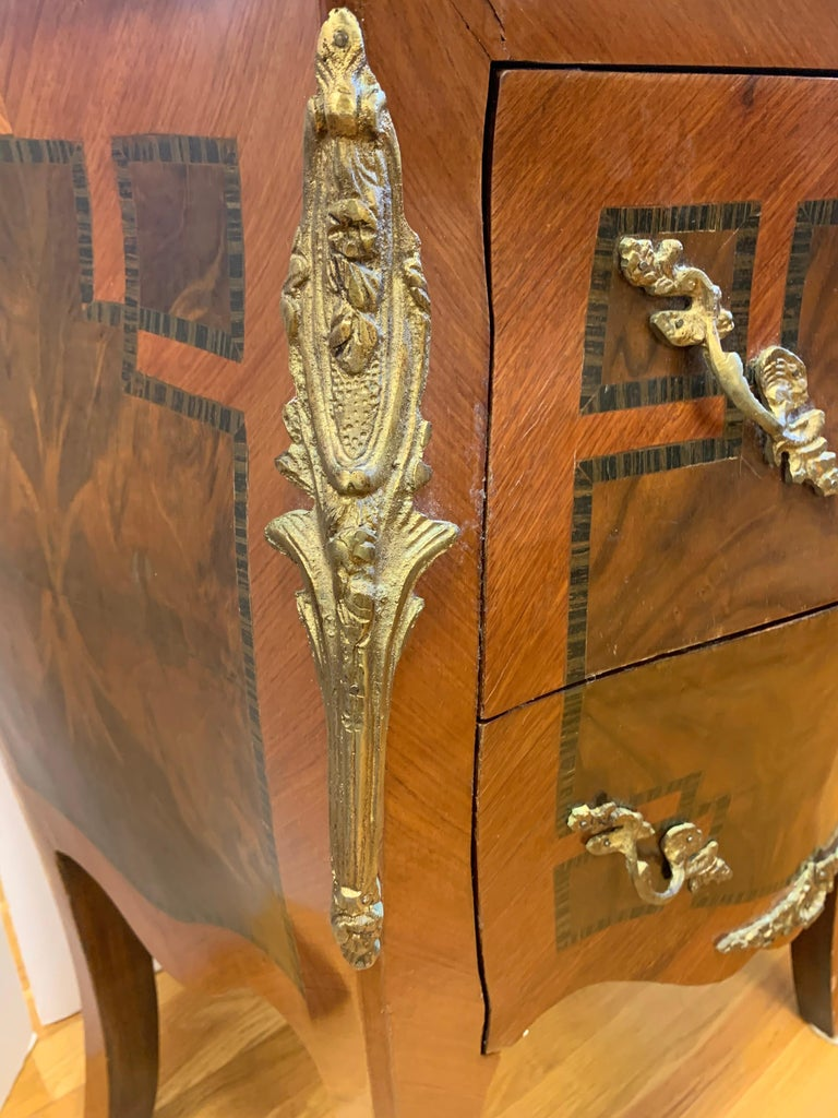 Louis XV Style Marble-Top and Bronze Ormolu Chests, Nightstands For Sale 2