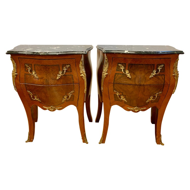 Louis XV Style Marble-Top and Bronze Ormolu Chests, Nightstands For Sale