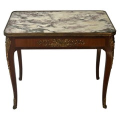 Louis XV Style Marble-Top Coffee Table with Bronze Mounts