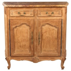 Louis XV Style Marble-Top Natural Oak Buffet, circa 1920s