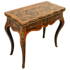 Louis XV Style Marquetry and Ormolu Mount Fold over Card Table