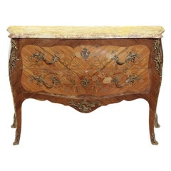 Louis XV Style Marquetry Kingwood Commode, 19 Century