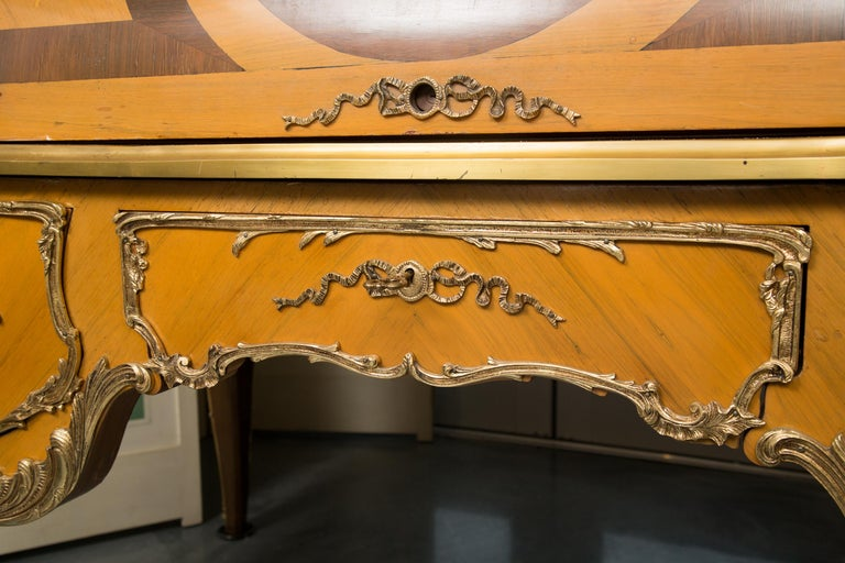 Louis XV Style Marquetry Kingwood Cylinder Desk For Sale 4