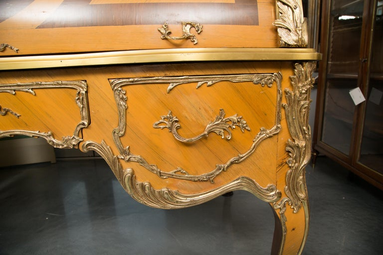 Louis XV Style Marquetry Kingwood Cylinder Desk For Sale 5