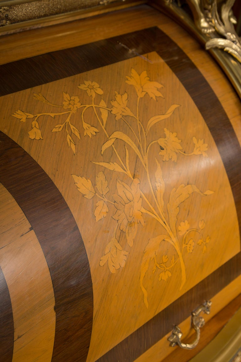 Louis XV Style Marquetry Kingwood Cylinder Desk For Sale 7