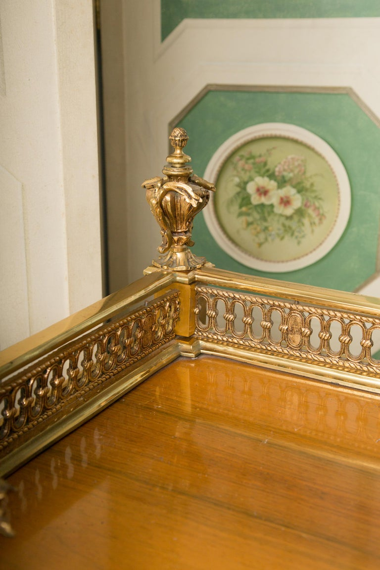 Louis XV Style Marquetry Kingwood Cylinder Desk For Sale 8