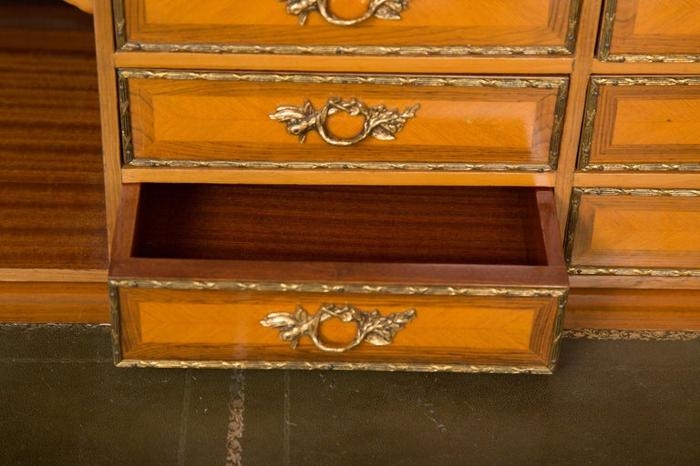 Forged Louis XV Style Marquetry Kingwood Cylinder Desk For Sale