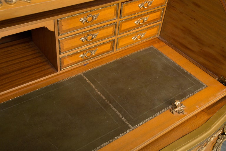 Brass Louis XV Style Marquetry Kingwood Cylinder Desk For Sale