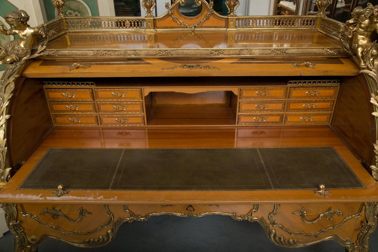 Louis XV Style Marquetry Kingwood Cylinder Desk For Sale 1
