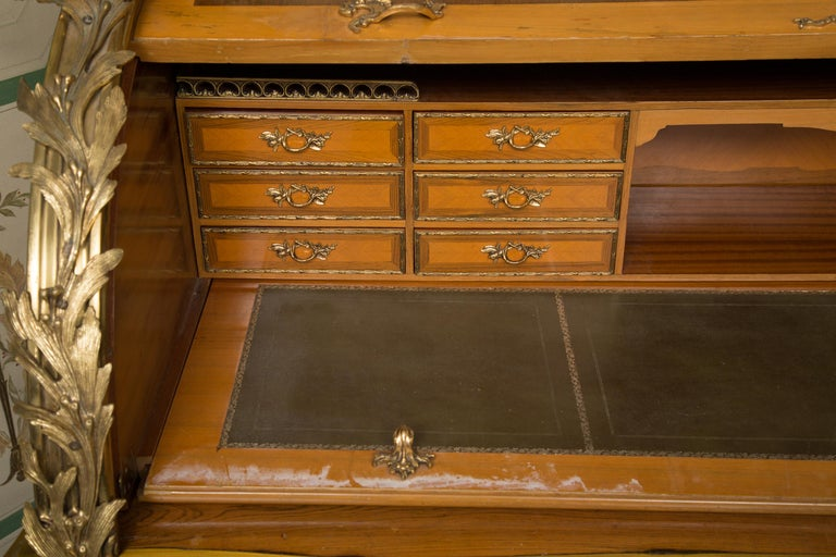 Louis XV Style Marquetry Kingwood Cylinder Desk For Sale 2