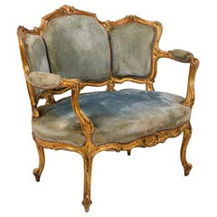 Louis XV Style Marquise Armchair in Giltwood and Blue Velvet, circa 1880