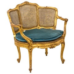 Louis XV Style Marquise Armchair in Giltwood, circa 1880