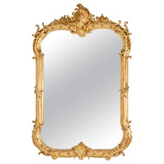 Louis XV Style Mirror in Giltwood and Bronze, Napoleon III Period