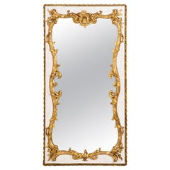 Louis XV Style Mirror in Lacquered Wood and Gilt Stucco, circa 1880