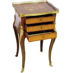 Inlaid Mixed Wood Louis XV Style Bronze Mounted Nighstand End Table