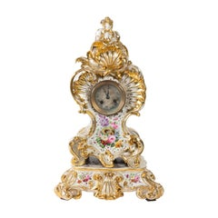 Louis XV Style Napoleon III Clock by Jacob Petit in Porcelain of Paris
